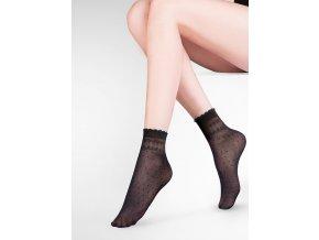 Dámske bodkované ponožky Pia 20 den, vzorované, tenké, priehľadné,  pravidelný vzor - bodky, pri gumičke pravidelný geometrický vzor,  vo farbe: nero, ecri, beige, bianco