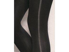 Vzorované pančuchové nohavice Loretta 124, 50 DEN, vzorované, hrubšie,  bez vyznačeného sedu s malým klinom. Po stranách z vonkajšej strany vzor - moderné pruhy.