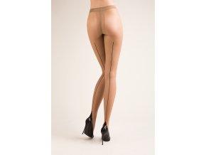 Telové pančuchy so zadným švom Bella, 20 DEN,Exkluzívne pančuchové nohavice so zadným švom, ukončený na chodidle kosoštvorcom. Pančušky v telovej farbe - vzor čierny. Bez zosilneného sedu a bez zosilnenej špičky. beige (telová tmavá)/nero (čierna) vzorované, priehľadné, tenšie