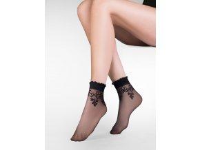 Dámske ponožky s kvetinovým vzorom Bea 20 den, tenké, vzorované, priehľadné, vo farbe: nero (čierna), beige (telová tmavá), Exkluzívne dámske ponožky, so vzorom kvetov.  so zdravotnou gumou. kvetinkový vzor je vo farbe ponožky,  ,