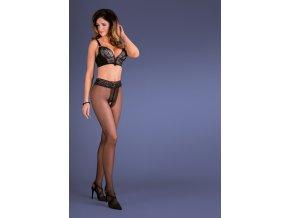 Čierne pančuchové nohavice Amira, Amira sú tenké čierne pančuchy, nohavice s otvoreným rozkrokom, romantický charakter,  Zmyselná čipka v páse, sexy model pre ženy.