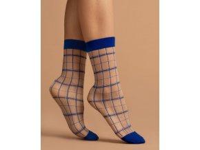 Dámske vzorované ponožky Klein 15 Den, Priehľadné ponožky so vzorom - pruhy v kráľovsky modrej a bielej farbe. Zosilnené špičky a patent v modrej farbe. univerzálna veľkosť one size, geometricky vzor