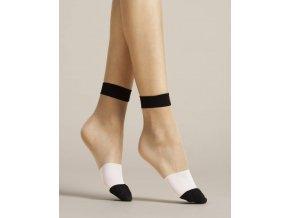 Dámske vzorované ponožky Bicolore 15 Den. Netlačiace ponožky priehľadné kombinované s bielym a čiernym pruhom, alebo žltá s bielym pruhom.  Zosilnná špička a patent v čiernej farbe, alebo v žltej farbe. univerzálna veľkosť