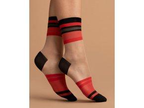 Dámske vzorované ponožky Catch me 15 Den, 76% polyamid, 4% elastan, 20% polypropylén,  Priehľadné ponožky kombinované s červenými a čiernymi pruhmi. Zosilnená špička a päta v čiernej farbe. univerzálna veľkosť one size,