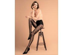 Pančuchové nohavice so zaujímavým vzorom. Pančuchy bez zosilneného sedu a bez zosilnenej špičky. Veľmi zaujímavý  zvierací motív vytvára geometrický vzor doplnený jemnými bodkami, pančuchové nohavice sú 30 DEN hrúbky, 86% polyamid, 14% elastan