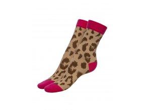 Dámske ponožky Pretty wildp 100 den,  fuchsiovo hnedá farba, Leopardí hnedý vzor,  veľmi jemné, príjemné, elastické