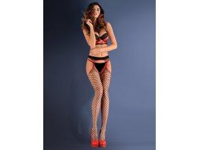 """Čierne sieťované pančuchy  Strip panty 153 20 den,Pančuchové nohavice typu """"Strip panty"""" zmyselné spojenie pančúch s podväzkovým pásom. Čierne sieťované pančuchy - väčšia mriežka. Ukončené exkluzívnou červenou krajkou.  z priadze elastan s polyamidom, erotické pančuchy,"""