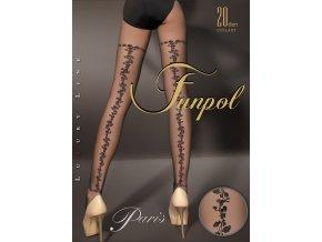priehľadné pančuchové nohavice s efektným zadným kvetinovým vzorom siahajúcim až k stehnám, elastický pás