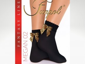 Dámske ponožky Microfibra Megan 02, 40 DEN,  Nepriehľadné ponožky,  s mašličkou v zadnej časti. Mašlička je tigrovaná, alebo hadí vzor. Jemná netlačiaca gumička. nero (čierna) + tigrovaná, strieborná, alebo čierno-strieborná mašlička, univerzálna veľkosť one size.