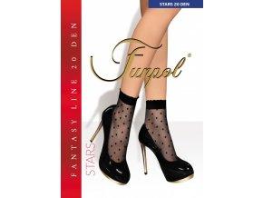 Ponožky s pravidelným vzorom - hviezdičky. Čierne ponožky s čiernym vzorom. Ukončené jemným netlačiacim pásom, univerzálna veľkosť one size, tenké, vzorované, priehľadné