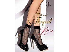 Dámske srdiečkové ponožky Love 20 Den, Ponožky s pravidelným vzorom - jemné srdiečka. Čierne ponožky s čiernym vzorom, telové ponožky so vzorom v telovej farbe. Jemná netlačiaca gumička. tenké, vzorované, priehľadné