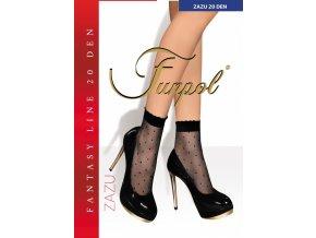 Ponožky s pravidelným vzorom - jemné bodky. Čierne ponožky s čiernym vzorom, telové ponožky so vzorom v telovej farbe. Ukončené sú netlačiacou gumičkou, nero (čierna), visone (telová svetlá),tenké, vzorované, priehľadné