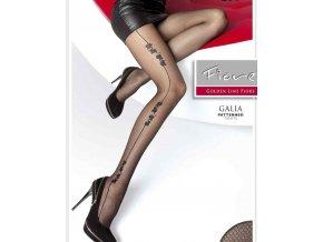 Vzorované pančuchové nohavice Galia 20 Den, priehľadné, tenšie, vzorované, s čiernym vzorom po stranách, Bez zosilneného sedu a bez zosilnenej špičky, vo farbe: black (čierna) zloženie: 87% polyamid, 12% elastan, 1% bavlna