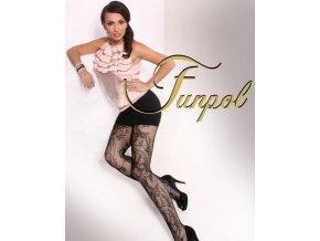 luxusné pančuchové nohavice z hustej sieťoviny, vzor kvetov a sieťky po celej dlžke