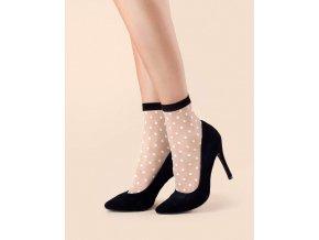 Bodkované ponožky Bubble Gum 20 DEN, Krásne ponožky s pastelovo ružovými bodkami, s čiernym lemom. Vyrobené v 3D technológii z najkvalitnejších priadzí pre väčšiu odolnosť. Zosilnená špička a gumička v čiernej farbe. 78% polyamid, 12% elastan, 10% polypropylén,  vzorované, tenšie, priehľadné