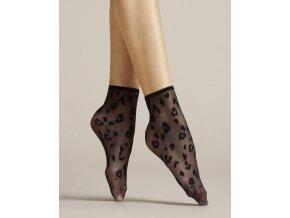 Čierne vzorované ponožky Doria 8 DEN, Čierne ponožky so zvieracím motívom v čiernej farbe. Bez zosilnenej špičky. Moderné ponožky s leopardím vzorom. tenké, beztlakové, vzorované