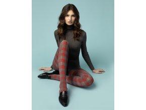 Sivo-červené teplé pančušky TWIST 40DEN Fiore, hrubšie, nepriehľadné, vzorované, pančuchové nohavice, melange/red (šedá melanž, červená) hrubšie kockované pančuchy,
