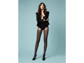 Silonky s imitáciou nadkolienok MULINETTO 20DEN FIORE, čierne pančuchové nohavice,  tenšie, priehľadné, vzorované, S geometrickým vzorom , 90% polyamid, 10% elastan Hrúbka: 20 DEN