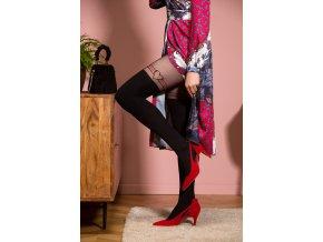 Pančuchy s efektom nadkolienok  Juliett 3D Gabriella. Pančuchové nohavice extravagantné, nepriehľadné, moderné, stehno zvýrazňujú 3 tenké pásiky, čierno - červené, ktoré obklopujú srdiečko na vonkajšej časti stehna.