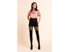 Silonky s imitáciou nadkolienok Valery Gabriella, Exkluzívne vzorované pančuchové nohavice s imitáciou podväzkov.  Pančuchové nohavice pre zvýraznenie jedinečného vzhľadu v šatách ši sukni. extravaganté, nepriehľadné, moderné