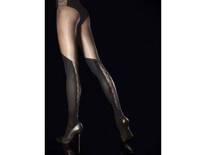 Pančuchové nohavice Darya 40DEN  Fiore, Pančuchové nohavice sú elastické, pohodlné, bez zosilneného sedu a bez zosilnených prstov. Dámske pančuchy v ktorých určite zaujmete. Čierne pančuchové nohavice sú vzorované, priehľadné, tenšie. V dolnej časti - nadkolienky a v nohavičkovej časti geometický vzor pripomína viazačku so šnurovačkou.  noha