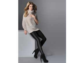 Dámske bavlnené pančuchy MERA Gabriella, Mera je štýlový, elegantný model, stvorený pre chladnejšie dni. Čierny nepriehľadný úplet, ktorý je na boku obohatený efektným vzorom, opticky zoštíhli a predĺži nohy. Zosilnená špička.