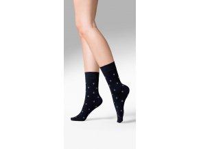 dámske ponožky Gabriella TESS,ponožky so štýlovými bodkami,nepriehľadné, vzorované, ponožky so zdravotnou gumou, nesťahujúca guma, vo farbe čiernej, univerzálna veľkosť
