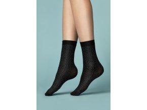 Dámske ponožky Pepe Bianco Fiore, 40 DEN,  čierne ponožky pôsobia ako keby boli posiaté bielym korením, čierno-biele ponožky sa hodia ku všetkému, sú vyrobené z 3D mikrovlákna, poskytujú väčšiu pevnosť a mäkkosť , neviditeľne zosilnené prsty na nohách,