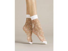 Dámske ponožky Papavero Fiore 20 DEN, 27% polyamid, 5% elastan,68 % polypropylén, univerzálna veľkosť one size, vzorované, tenšie, priehľadné, efektné ponožky s bielymi bodkami, zosilnenou bielou špičkou a  ukončené bielym lemom, univerzálna veľkosť one size,