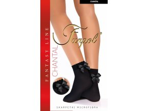 Čierne ponožky s mašličkou CHANTAL 60DEN
