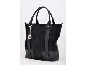 Čierna kabelka kombinovaná so semišom
