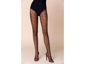 Dámske vzorované pančuchy Stars Nero, Pančuchové nohavice Stars Nero zdobené čiernymi hviezdami na čiernom pozadí , priehľadné, tenšie, vzorované, vyrobené z pružnej priadze dvojito opletené hodvábom, zaručujú pohodlie a komfort