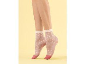 Dámske ponožky Panna cotta Fiore  8 DEN, vzorované, beztlakové, vo farbe vanilla, Dámske bodkované ponožky, bodky vo farbe vanilla, silonkové ponožky,  zosilnené špičky v staroružovej farbe