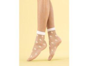 Dámske vzorované ponožky Daisy Fiore  20 DEN, 84% polyamid, 5% elastan, 12% polypropylén, univerzálna veľkosť one size, poudre / telová, vzorované, beztlakové,  Smotanové ponožky so vzorom sedmokrásky,  ponožky sú ukončené bielym lemom