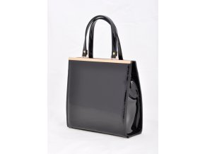 Čierna lakovaná kabelka malá