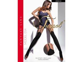 Dámske vzorované pančuchy model 014 Funpol 60 DEN, Extravagantné pančuchové nohavice imitujúce nadkolienky,  imitujúce podväzkový pás, pančuchy s plochým švom a elastickým pásom. Spodná časť pančúch je hrubšia - nepriehľadná, horná časť je tenšia - priehľadná. Pančušky bez zosilneného sedu.