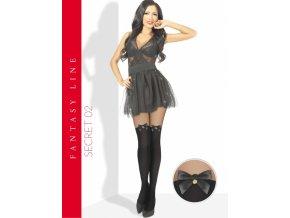 Extravagantné pančuchové nohavice imitujúce nadkolienky, ukončené saténovou mašličkou na stehnách. Pančuchy v čiernej farbe s čiernou mašličkou. Spodná časť pančúch je hrubšia - nepriehľadná, horná časť je tenšia - priehľadná.