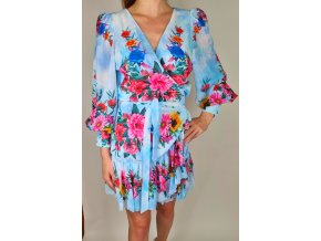 Dámske modré zavinovacie šaty