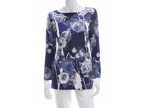 Tmavo modrá tunika s kvetinovým vzorom