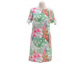 Biele šaty so zeleným vzorom