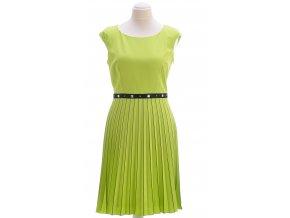 Zelené šaty s plisovanou sukňou