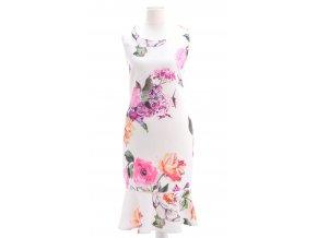 Biele šaty s farebným kvetinovým vzorom