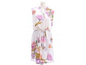 Biele kvetinové šaty so stojačikom