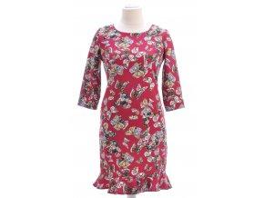 Bordové šaty s motýlim vzorom