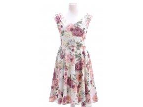 Smotanové šaty s kvetinovým vzorom