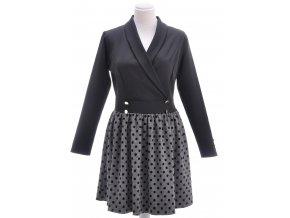 Čierne kombinované šaty so skladanou sukňou