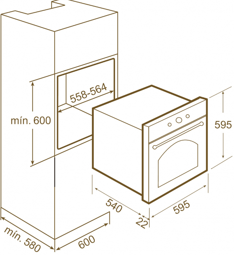 Teka HR 750 smetanová rustikal nákres