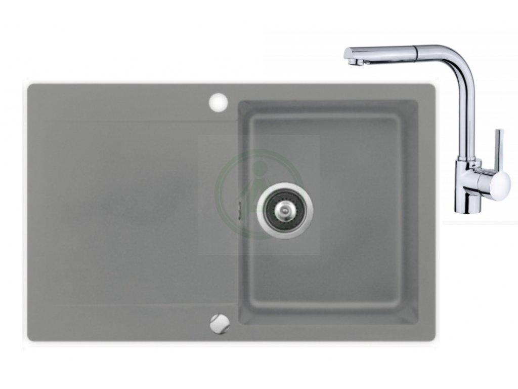 Set Teka LIVO 45 B TQ granitový dřez šedý + baterie ARES B 938