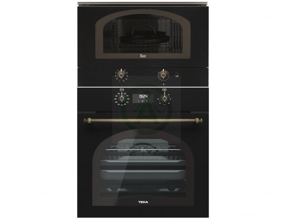 Teka HRB 6400 černá rustikální trouba + retro mikrovlnná trouba MWR 22 BI
