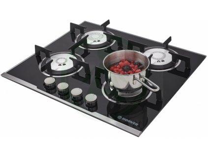 Hoover HGV 64 SXV B plynová deska černé sklo